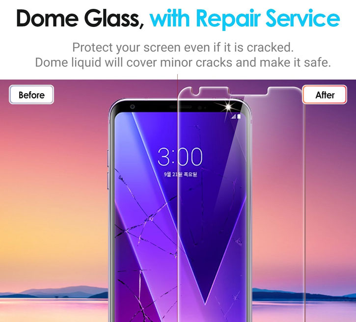 Whitestone Dome Glass LG V30 Full Cover Screen Protector