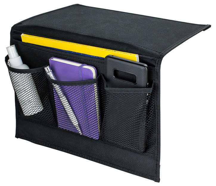 Bedside Storage Organiser - 4 Pocket - Black