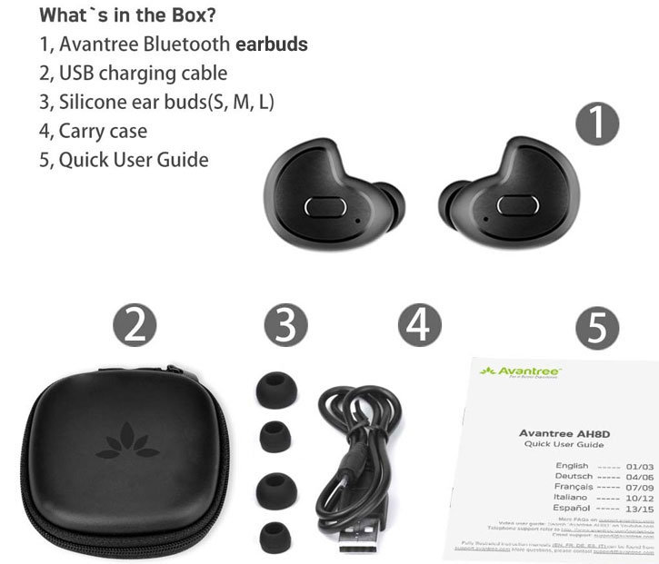 Avantree Mini Wireless Bluetooth Headset - Two Pack