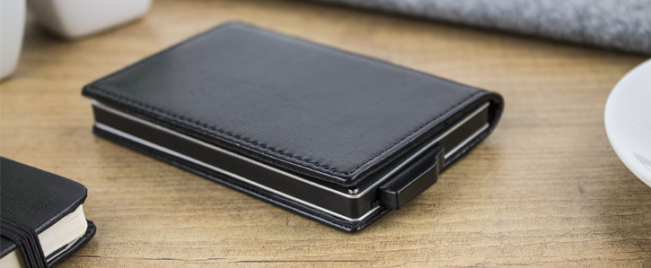Leather-Style RFID Blocking Pocket Card Holder - Black