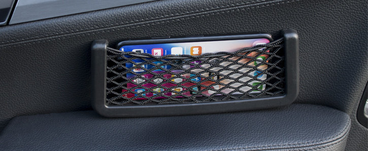 Universal In-Car Mesh Net Smartphone Holder & Storage Pocket