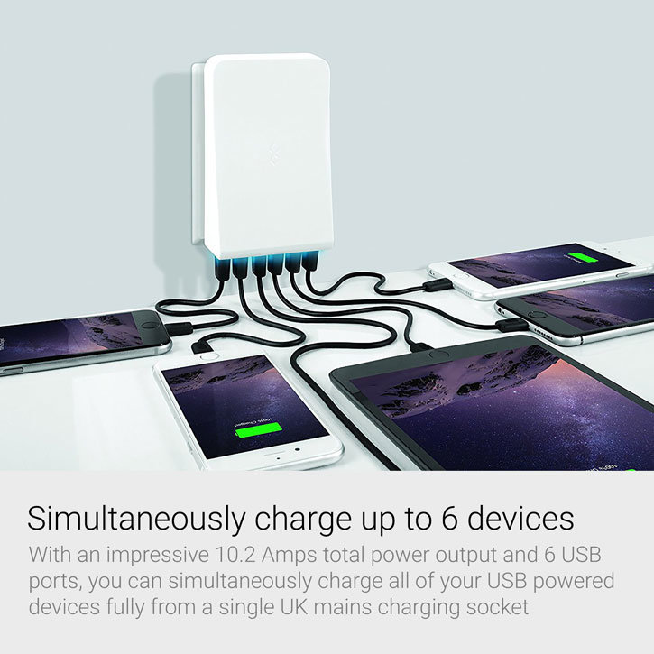 BlueFlame 6-Port USB Wall Charger Hub