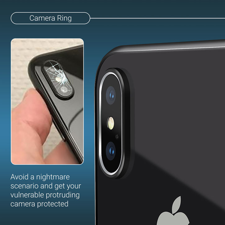 Olixar iPhone X Camera Lens Protector Metal Ring - Black / Silver