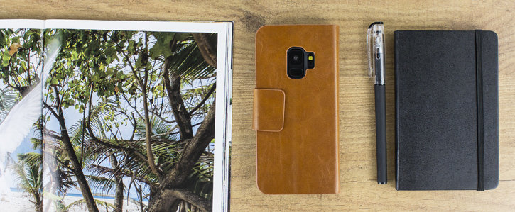 Olixar Leather-Style Samsung Galaxy S9 Wallet Stand Case - Tan