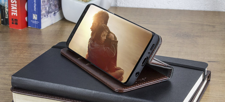 Olixar X-Tome Leather-Style Samsung Galaxy S9 Book Case - Brown