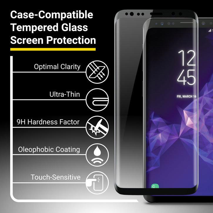 Olixar Galaxy S9 Plus Full Cover Glass Screen Protector - Black