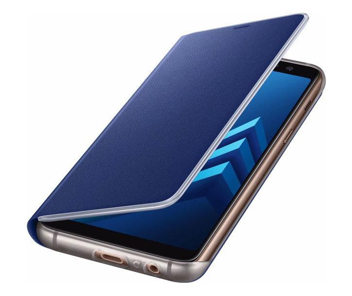 Neon Flip Case Officielle Samsung Galaxy A8 2018 - Bleue vue sur ports