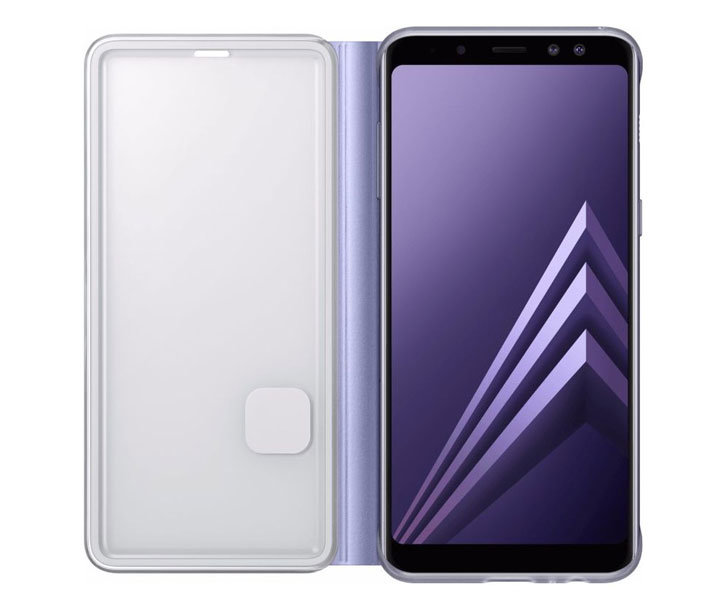 Official Samsung Galaxy A8 2018 Neon Flip Case - Orchid Grey
