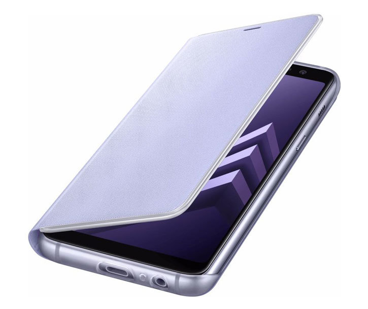 Neon Flip Case Officielle Samsung Galaxy A8 2018 - Gris vue sur ports