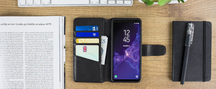 Samsung Galaxy S9 Genuine Leather Wallet Case - Black