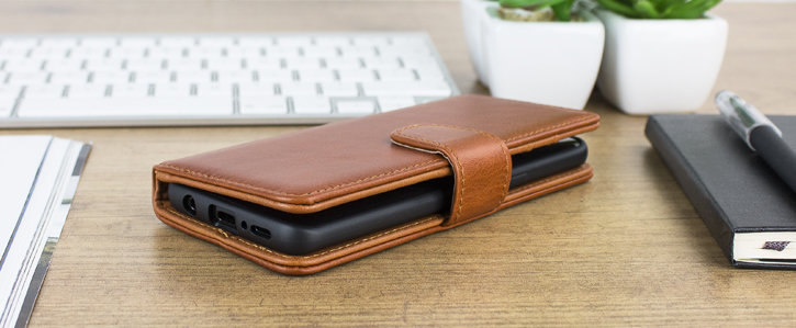 Samsung Galaxy S9 Genuine Leather Wallet Case - Cognac