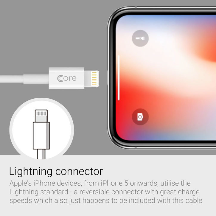 Core 3-In-1 Lightning / Micro USB / USB-C Charge and Sync 1m Cable