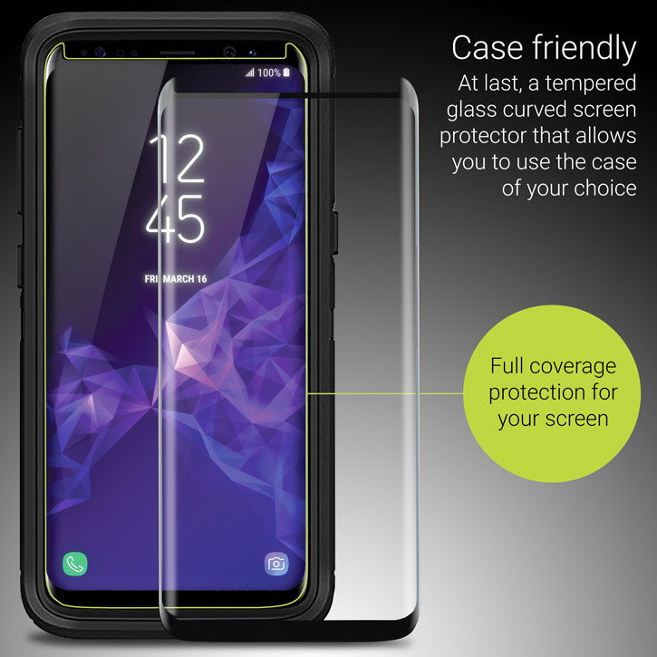 Olixar Samsung Galaxy S8 Case Compatible Glass Screen Protector: Black