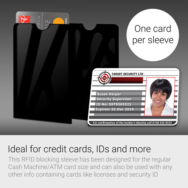 RFID Blocking Stick-On Credit Card Data Theft Protection Sleeve