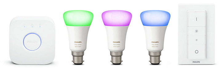 Official Phillips Hue White and Colour Wireless Starter Kit B22