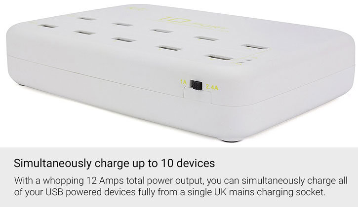 Kit 10 Port USB Charging Station for Smartphone & Tablets - 12 Amps