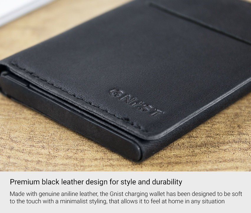 Unikia Gnist Genuine Leather MFi iPhone Charging Wallet - Black