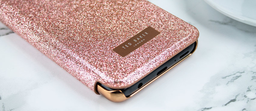 online store 358bb 2190a Ted Baker Mirror Folio Samsung Galaxy S9 Glitter Case - Rose Gold