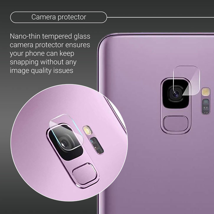 Olixar Samsung Galaxy S9 Tempered Glass Camera Protector - Twin Pack