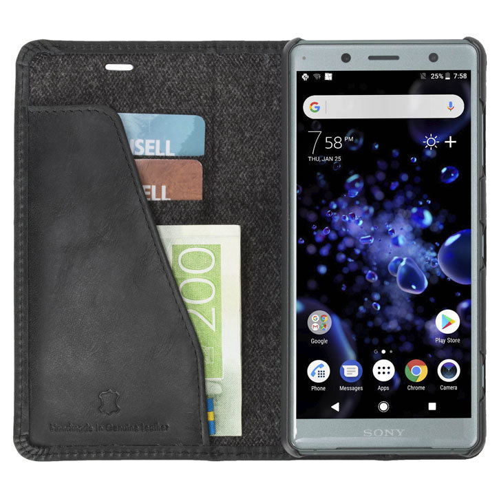 Krusell Sunne 2 Card Sony Xperia XZ2 Compact Folio Wallet Case - Black