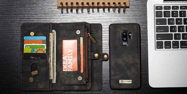 Luxury Samsung Galaxy S9 Plus Leather-Style 3-in-1 Wallet Case - Black