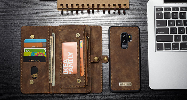 Luxury Samsung Galaxy S9 Plus Leather-Style 3-in-1 Wallet Case - Tan