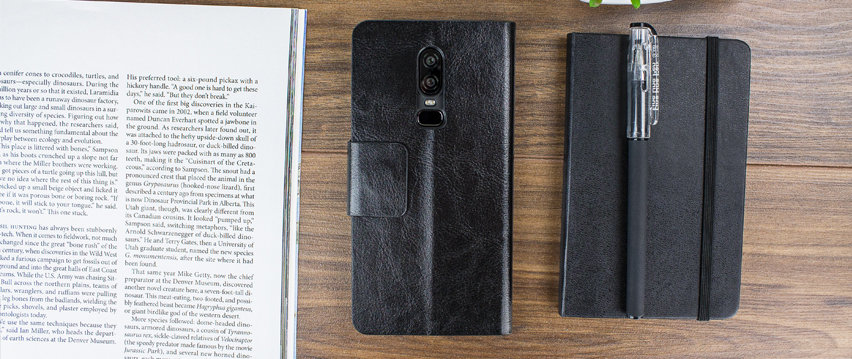 Olixar Leather-Style OnePlus 6 Wallet Stand Case - Black