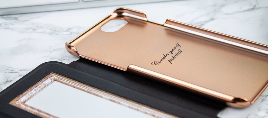 Ted Baker Shannon Mirror Folio iPhone 8 Case - Black / Rose Gold