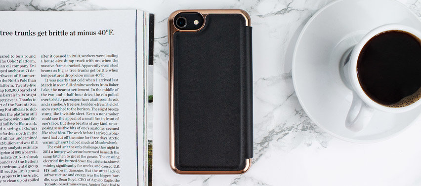 Ted Baker Shannon Mirror Folio iPhone 7 Case - Black / Rose Gold