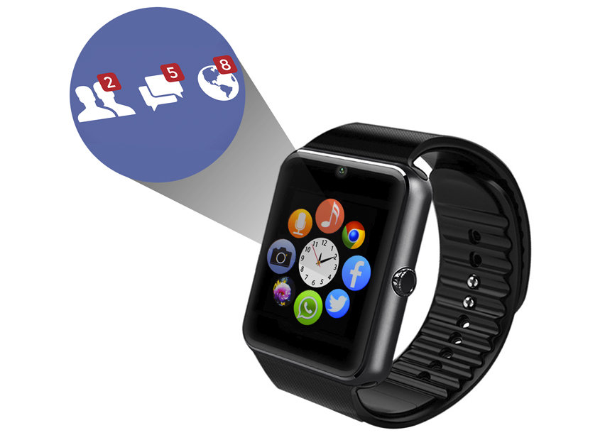 Universal Bluetooth Smartwatch for iOS and Android Smartphones - Black