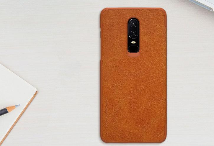 Nilkin Qin Series Genuine Leather OnePlus 6 Wallet Case - Tan