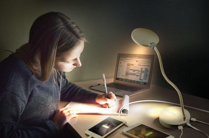 Promate LumiFlex-2 LED Desk Lamp With 4000 mAh Power Bank - White