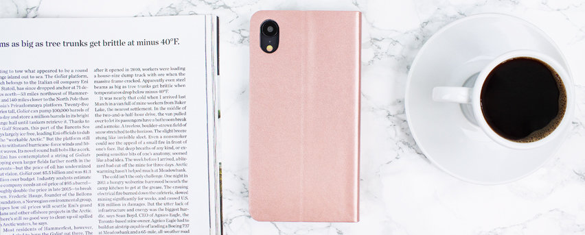 Olixar Leather-Style iPhone XR Wallet Stand Case - Rose Gold