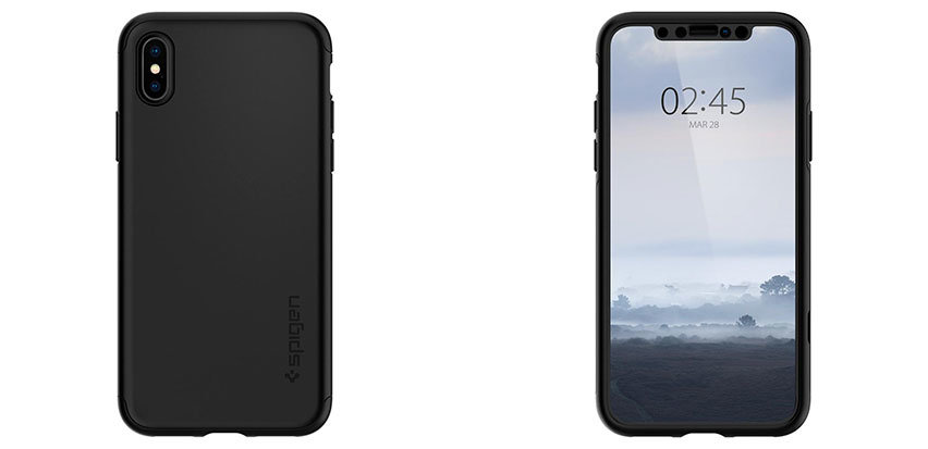 Spigen Thin Fit iPhone XS Case and Glass Screen Protector - Black