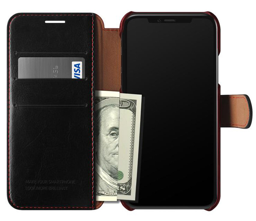 VRS Design Dandy Leather-Style iPhone XS Wallet Case - Black