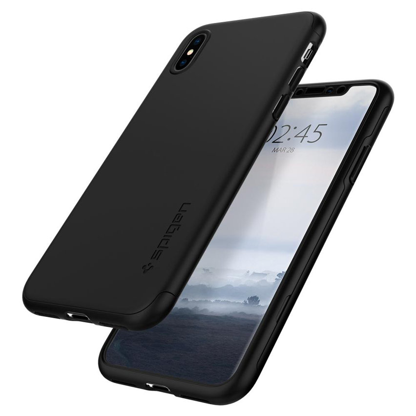 new arrivals 1173a 245bb Spigen Thin Fit iPhone XS Max Case and Glass Screen Protector - Black