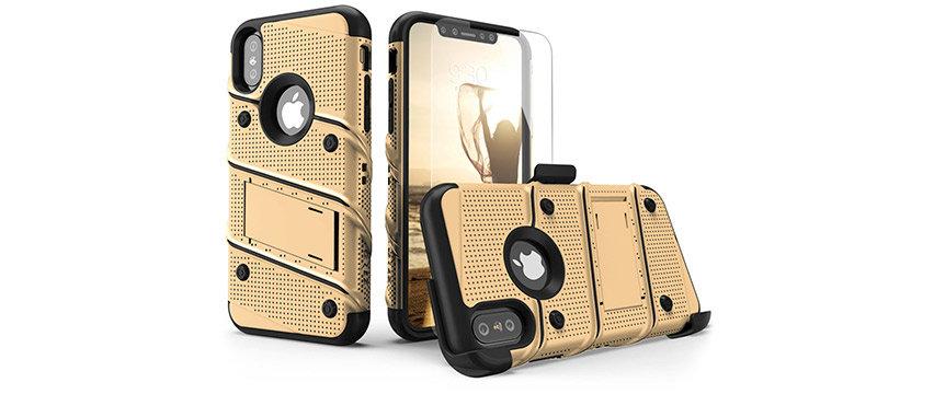 Zizo Bolt iPhone XS Max Tough Case & Screen Protector - Gold / Black