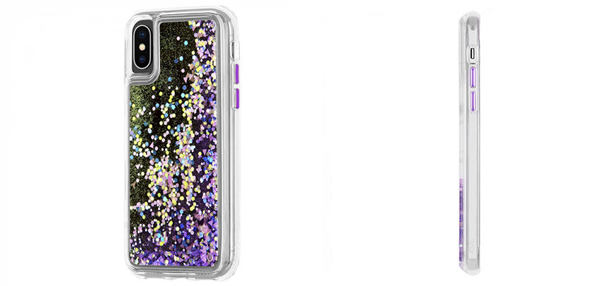 Case-Mate iPhone XS Max Waterfall Glow Glitter Case - Purple Glow