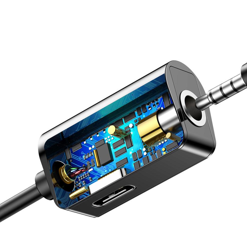 Baseus USB-C To USB-C & 3.5mm Audio Aux Adapter - Black