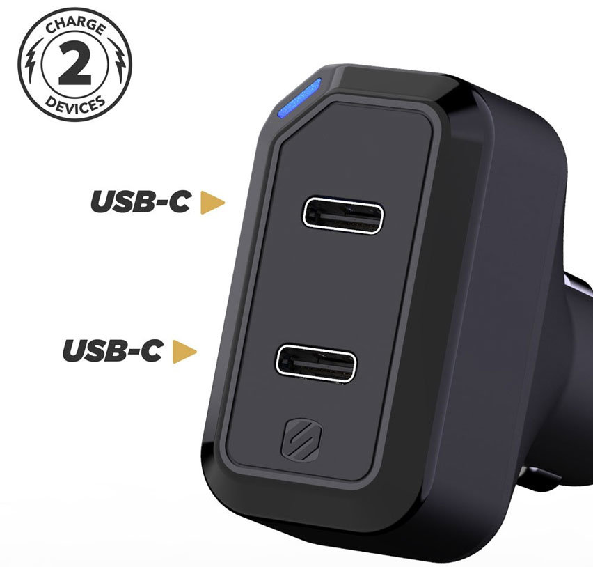 Scosche StrikeDrive 3.0 Dual USB-C Car Charger - Black