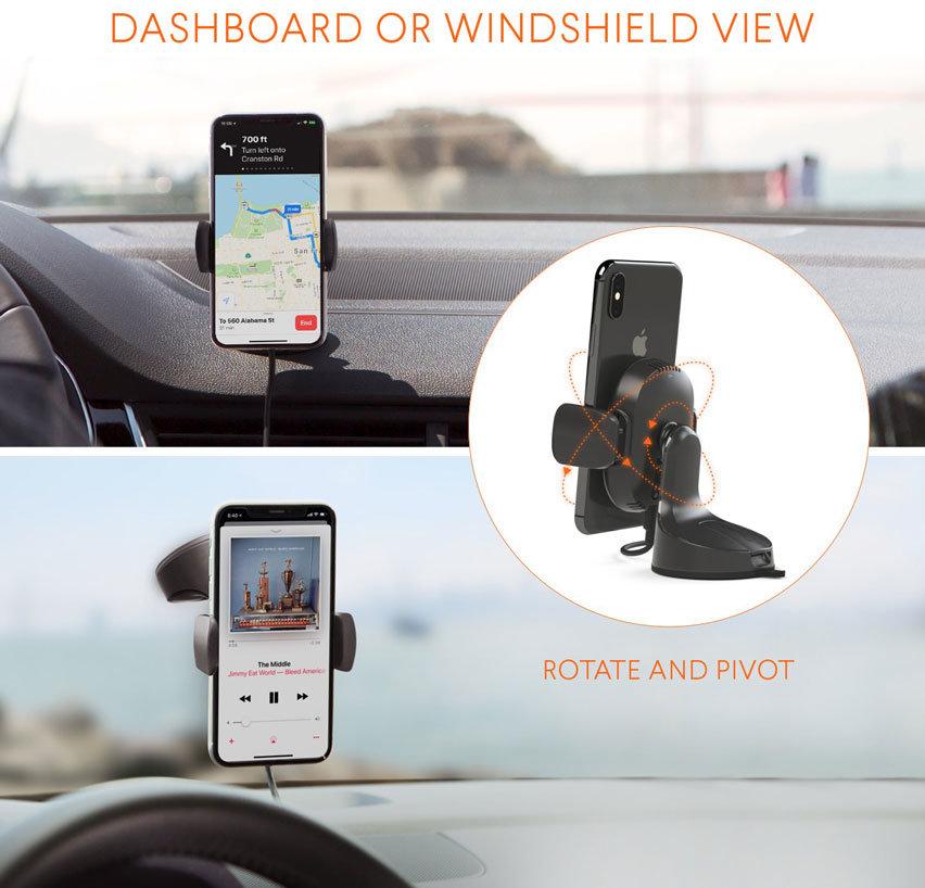 Kenu Airbase Qi Fast Wireless Charging Windscreen / Dash Car Holder