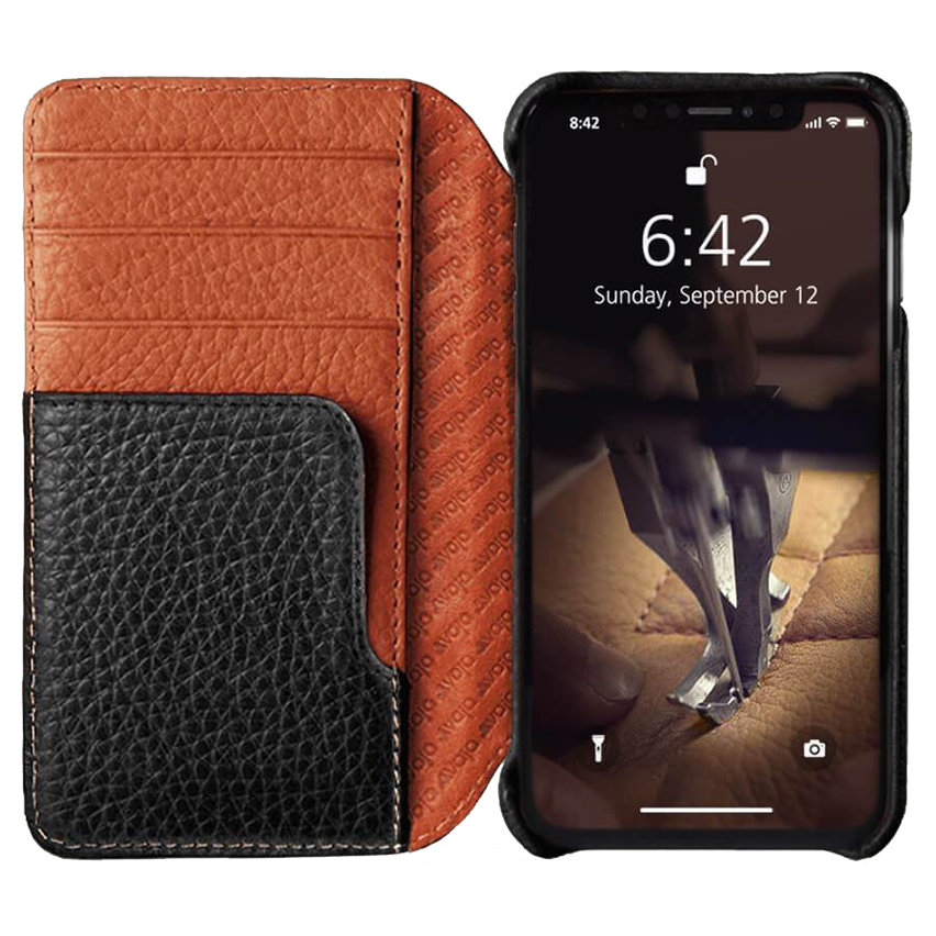 Vaja Wallet LP iPhone XS Max Premium Leather Case - Black / Tan