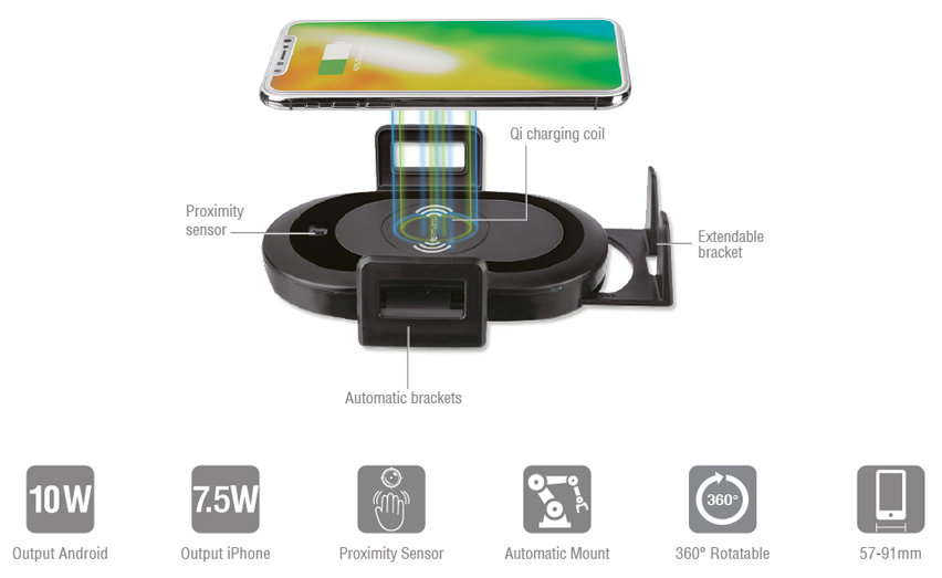 4smarts VoltBeam Sensor Wireless Fast Charging Car Holder - Black