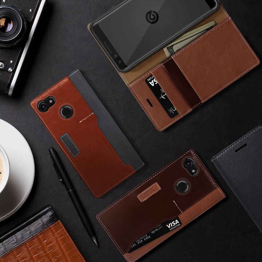 Obliq K3 Google Pixel 3 Leather Style Wallet Case - Grey / Brown