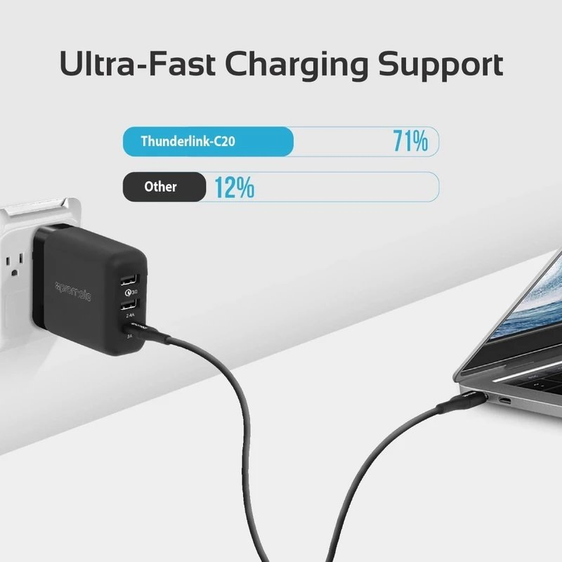 Promate USB-C to USB-C ThunderLink C20 Armoured Cable - 100W
