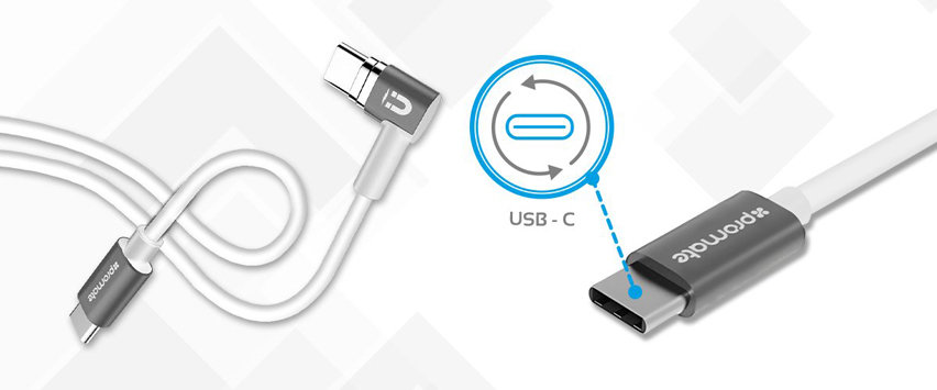 Promate MagLink-C Magnetic USB-C Fast Charging Cable - White