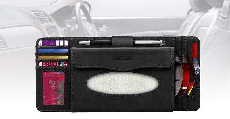 Promate CarCaddy Multi-Function Car Visor CD & Card Organiser - Black