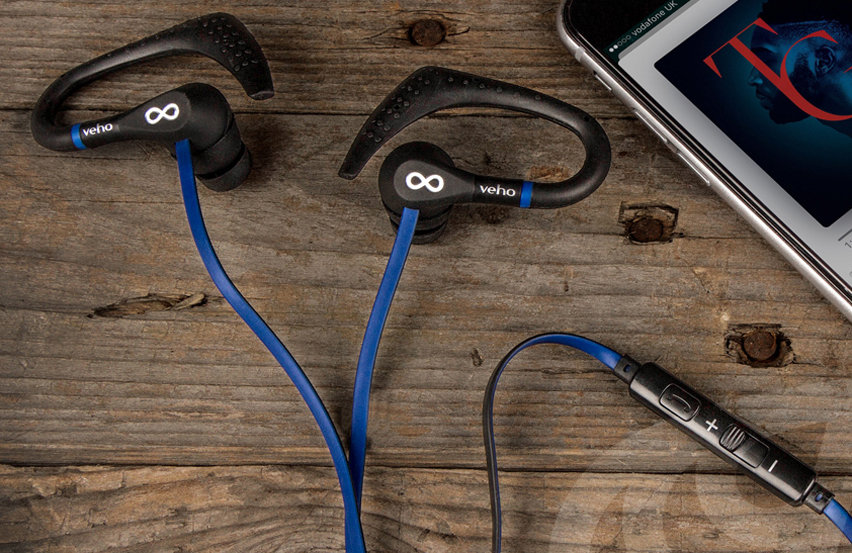 Veho ZS-3 Water-Resistant Sports Earphones With Mic - Black / Blue
