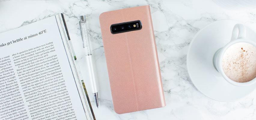 Olixar Leather-Style Galaxy S10 Wallet Stand Case - Rose Gold