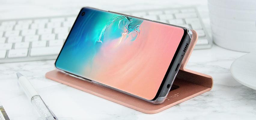 Olixar Leather-Style Samsung Galaxy S10 Mirror Case - Rose Gold